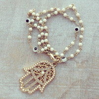 Pree Brulee - White Beaded Hamsa Bracelet