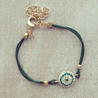 Pree Brulee - Green Crystal Evil Eye Bracelet