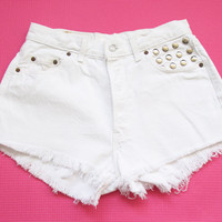White Levi high waist shorts L