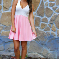 Scoop Of Ice-Cream Dress: Taupe/Pink | Hope's