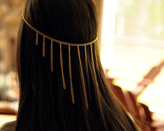 Hanging Chains head piece by NativeLivingJewelry on Etsy