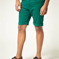 ASOS Denim Shorts In Green at asos.com