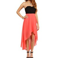 Pre-Order: Black/Coral Hi Low Prom Dress