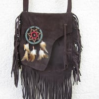 tribal fringed leather bag