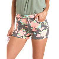 Neon Floral Denim Short: Charlotte Russe
