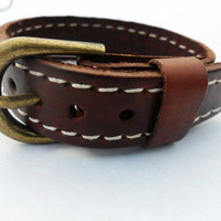 Brown Real Leather Metal Buckle Adjustable Cuff by braceletcool