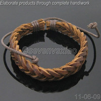 Leather and Rope Woven Bracelets Adjustable 65S by sevenvsxiao