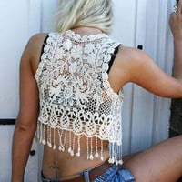 Vintage style cream Hippy Crochet lace Waist coat S