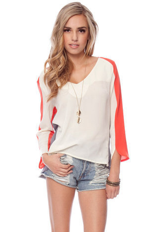 Pick and Panel Top in Cream Multi :: tobi
