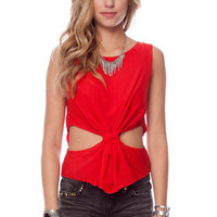 Tie the Knot Tank Top in Red :: tobi