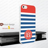 Blue line Monogram geometric Iphone 5 case unique case Hard case Rubber case iphone 4 case