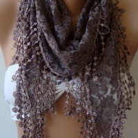 Super elegant scarf -- Lace scarf Moca grey---Mothers day gift