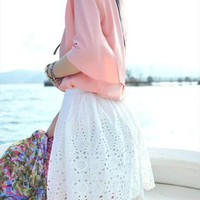 Simply White Lace Skirt from beahappygirl