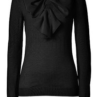 Moschino - Black Big Bow Embellished Wool Pullover
