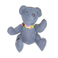 Denim Teddy Bear made from upcycled jeans - Blue Bear number 3