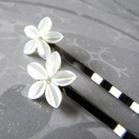 Mother of pearl flower handmade bobby pins silver plate | wingsofflutter - Accessories on ArtFire