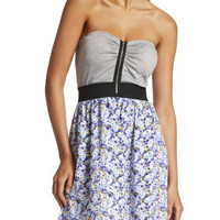 Charlotte Russe - Zip-Front Floral Tube Dress