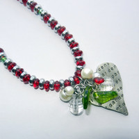 Red Silver Beaded Heart Charm Necklace