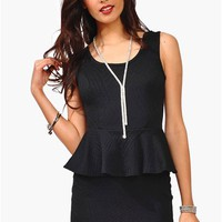 Pearly Whites Peplum Dress - Black