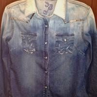 Ombre Studded Denim Shirt by Moleek7 on Etsy