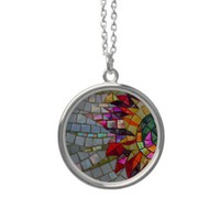 Floral Mosaic Necklace from Zazzle.com