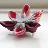 Pink Japanese Fabric Brooch Pin Pink Kanzashi by cuttlefishlove
