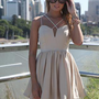 Cream Strappy Sleeveless Dress with Velvet Detail & Pleat Sk