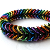 Rainbow stretchy chainmaille bracelet by TattooedAndChained