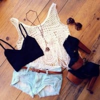 Fringed Crochet Top