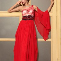2013 One Shoulder Long Evening Prom Dress Red