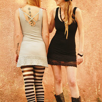 Camisole open back tunic dress, Little black dress, Sexy boho tunic with lace