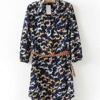 Pony Pattern Long Shirt Dress with Belt