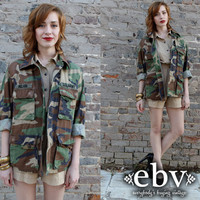 Vintage Camo Military Army Green Shirt Jacket S M L