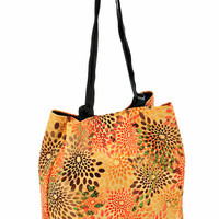 Yellow FLORAL VEGAN HANDBAG, Medium Size Purse with Braided Straps and Detachable case. Lightweight bag - Japanese Cube