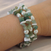 Natural Stone Jade &amp; Fresh Water Pearl Memory Wire Bracelet Set