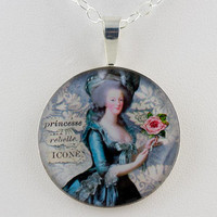 Marie Antoinette Collage Sterling Pendant by tartx on Etsy