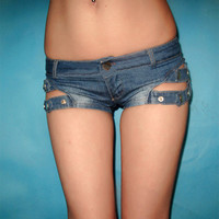 Hollow Denim Shorts