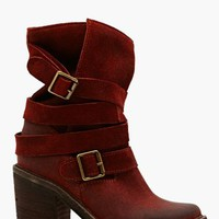 France Strapped Boot - Rust Suede