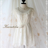 Lacy Darling III - Lady Lace Dress Ivory Lace Sweet Simply Party Dress Classy Detailed Flutter Sleeve Scarf Hem Dress S-M