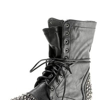 Breckelle&#x27;s Georgia28 Black Studded Lace Up Combat Boots and Shop Boots at MakeMeChic.com