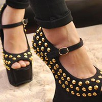 Black Heel-Less Suede Sandals with Rivets from ABIGALE