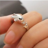 Cute Animal Dolphin Open Ring