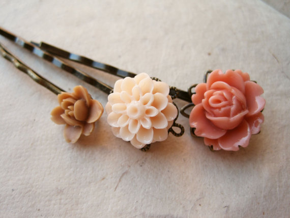 Peach Flower Hair Pins by PiggleAndPop on Etsy