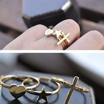Cross Heart Star Ring Set