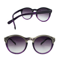Purple Leopard Print Sunglasses