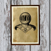 Medieval knights armor print Antiqued paper Vintage art Old looking Antique style 8.3 x 11.7 inches