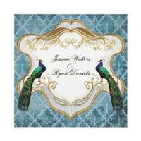 Royal Peacock Blue Wedding Invitation from Zazzle.com