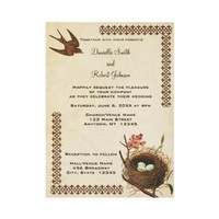 Vintage Birds Nest Custom Wedding Invitation from Zazzle.com