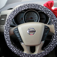 Grey and White Cheetah Steering Wheel Cover with by BeauFleurs