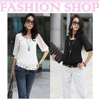 New Women Short Lace Sleeve Round Neck Slim Blouse Sexy Casual Cotton Tops Shirt